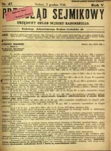 Przegląd Sejmikowy : Urzędowy Organ Sejmiku Radomskiego, 1926, R. 5, nr 47