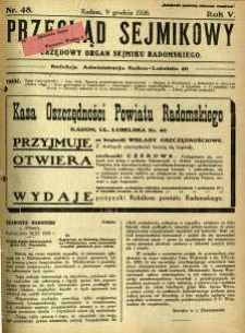 Przegląd Sejmikowy : Urzędowy Organ Sejmiku Radomskiego, 1926, R. 5, nr 48