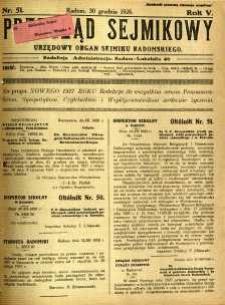 Przegląd Sejmikowy : Urzędowy Organ Sejmiku Radomskiego, 1926, R. 5, nr 51
