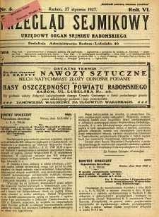 Przegląd Sejmikowy : Urzędowy Organ Sejmiku Radomskiego, 1927, R. 6, nr 4