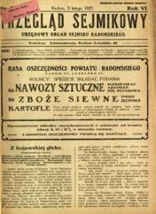 Przegląd Sejmikowy : Urzędowy Organ Sejmiku Radomskiego, 1927, R. 6, nr 5