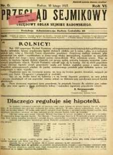 Przegląd Sejmikowy : Urzędowy Organ Sejmiku Radomskiego, 1927, R. 6, nr 6