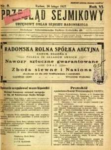 Przegląd Sejmikowy : Urzędowy Organ Sejmiku Radomskiego, 1927, R. 6, nr 8