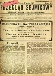 Przegląd Sejmikowy : Urzędowy Organ Sejmiku Radomskiego, 1927, R. 6, nr 11