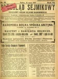 Przegląd Sejmikowy : Urzędowy Organ Sejmiku Radomskiego, 1927, R. 6, nr 13