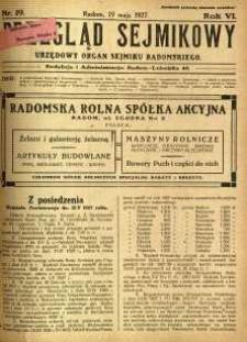 Przegląd Sejmikowy : Urzędowy Organ Sejmiku Radomskiego, 1927, R. 6, nr 19