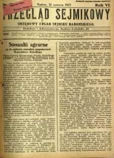 Przegląd Sejmikowy : Urzędowy Organ Sejmiku Radomskiego, 1927, R. 6, nr 23