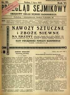 Przegląd Sejmikowy : Urzędowy Organ Sejmiku Radomskiego, 1927, R. 6, nr 26