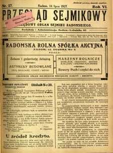 Przegląd Sejmikowy : Urzędowy Organ Sejmiku Radomskiego, 1927, R. 6, nr 27