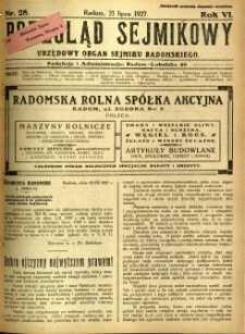 Przegląd Sejmikowy : Urzędowy Organ Sejmiku Radomskiego, 1927, R. 6, nr 28