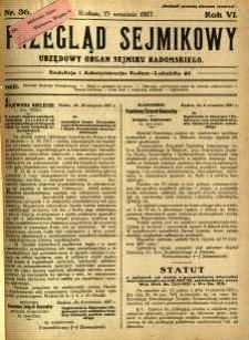 Przegląd Sejmikowy : Urzędowy Organ Sejmiku Radomskiego, 1927, R. 6, nr 36