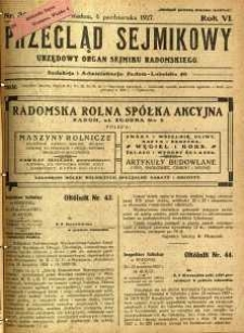 Przegląd Sejmikowy : Urzędowy Organ Sejmiku Radomskiego, 1927, R. 6, nr 39