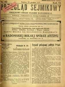 Przegląd Sejmikowy : Urzędowy Organ Sejmiku Radomskiego, 1927, R. 6, nr 50