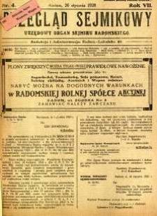 Przegląd Sejmikowy : Urzędowy Organ Sejmiku Radomskiego, 1928, R. 7, nr 4