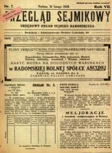 Przegląd Sejmikowy : Urzędowy Organ Sejmiku Radomskiego, 1928, R. 7, nr 7