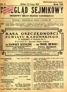 Przegląd Sejmikowy : Urzędowy Organ Sejmiku Radomskiego, 1928, R. 7, nr 8