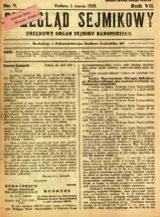Przegląd Sejmikowy : Urzędowy Organ Sejmiku Radomskiego, 1928, R. 7, nr 9