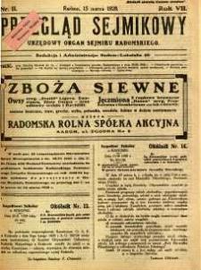 Przegląd Sejmikowy : Urzędowy Organ Sejmiku Radomskiego, 1928, R. 7, nr 11