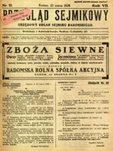 Przegląd Sejmikowy : Urzędowy Organ Sejmiku Radomskiego, 1928, R. 7, nr 12