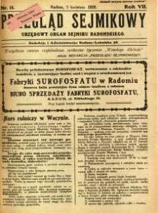 Przegląd Sejmikowy : Urzędowy Organ Sejmiku Radomskiego, 1928, R. 7, nr 14