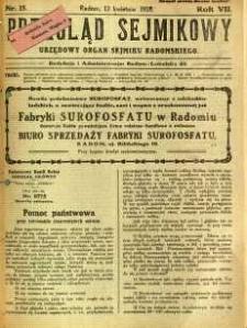Przegląd Sejmikowy : Urzędowy Organ Sejmiku Radomskiego, 1928, R. 7, nr 15