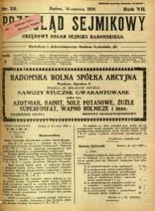 Przegląd Sejmikowy : Urzędowy Organ Sejmiku Radomskiego, 1928, R. 7, nr 24