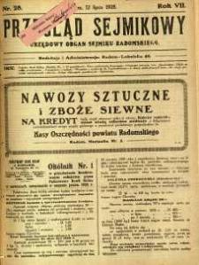 Przegląd Sejmikowy : Urzędowy Organ Sejmiku Radomskiego, 1928, R. 7, nr 28