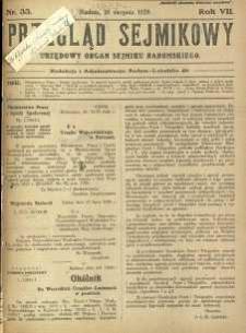 Przegląd Sejmikowy : Urzędowy Organ Sejmiku Radomskiego, 1928, R. 7, nr 33