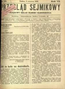 Przegląd Sejmikowy : Urzędowy Organ Sejmiku Radomskiego, 1928, R. 7, nr 36