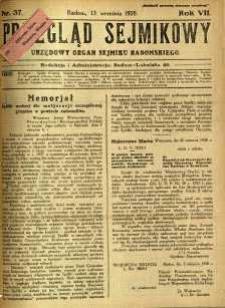 Przegląd Sejmikowy : Urzędowy Organ Sejmiku Radomskiego, 1928, R. 7, nr 37