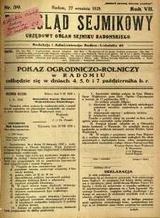 Przegląd Sejmikowy : Urzędowy Organ Sejmiku Radomskiego, 1928, R. 7, nr 39