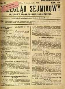 Przegląd Sejmikowy : Urzędowy Organ Sejmiku Radomskiego, 1928, R. 7, nr 41