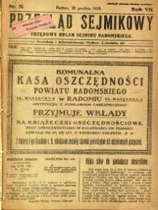 Przegląd Sejmikowy : Urzędowy Organ Sejmiku Radomskiego, 1928, R. 7, nr 51