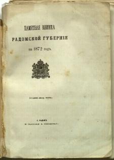 Pamjatnaja knižka Radomskoj guberni na 1872 god'