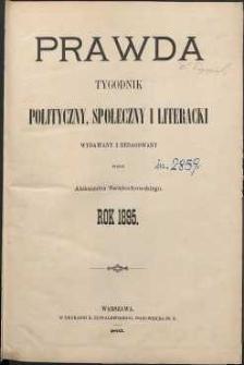 Prawda : tygodnik polityczny, społeczny i literacki, 1895, R. 15, spis rzeczy