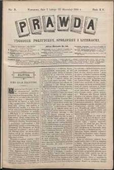 Prawda : tygodnik polityczny, społeczny i literacki, 1895, R. 15, nr 5