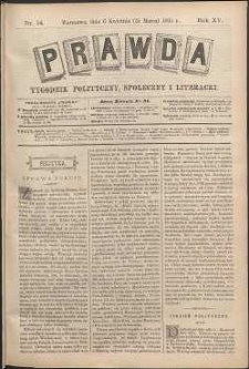 Prawda : tygodnik polityczny, społeczny i literacki, 1895, R. 15, nr 14