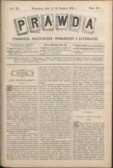 Prawda : tygodnik polityczny, społeczny i literacki, 1895, R. 15, nr 33