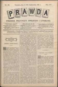 Prawda : tygodnik polityczny, społeczny i literacki, 1895, R. 15, nr 43