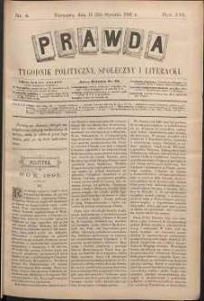 Prawda : tygodnik polityczny, społeczny i literacki, 1896, R. 16, nr 4