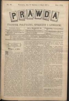 Prawda : tygodnik polityczny, społeczny i literacki, 1896, R. 16, nr 18