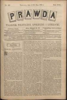 Prawda : tygodnik polityczny, społeczny i literacki, 1896, R. 16, nr 20