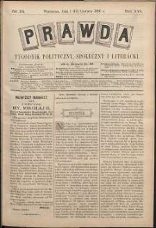 Prawda : tygodnik polityczny, społeczny i literacki, 1896, R. 16, nr 24