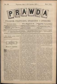 Prawda : tygodnik polityczny, społeczny i literacki, 1896, R. 16, nr 25