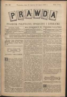 Prawda : tygodnik polityczny, społeczny i literacki, 1896, R. 16, nr 28