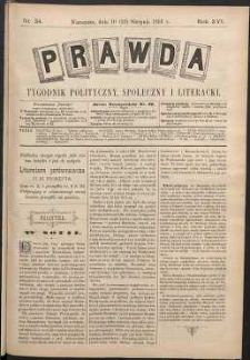 Prawda : tygodnik polityczny, społeczny i literacki, 1896, R. 16, nr 34