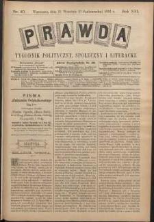 Prawda : tygodnik polityczny, społeczny i literacki, 1896, R. 16, nr 40