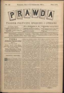 Prawda : tygodnik polityczny, społeczny i literacki, 1896, R. 16, nr 42