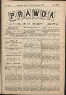 Prawda : tygodnik polityczny, społeczny i literacki, 1896, R. 16, nr 43