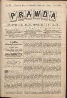 Prawda : tygodnik polityczny, społeczny i literacki, 1896, R. 16, nr 45